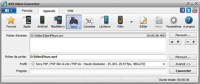 Fenêtre principale d'AVS Video Converter - pour Sony