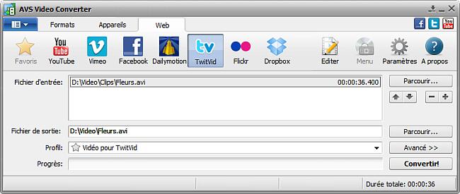 Fenêtre principale d'AVS Video Converter - TwitVid