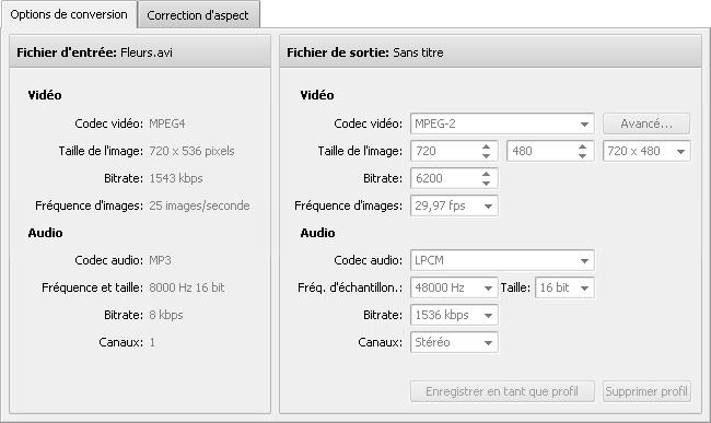 Onglet Options de conversion - M2TS