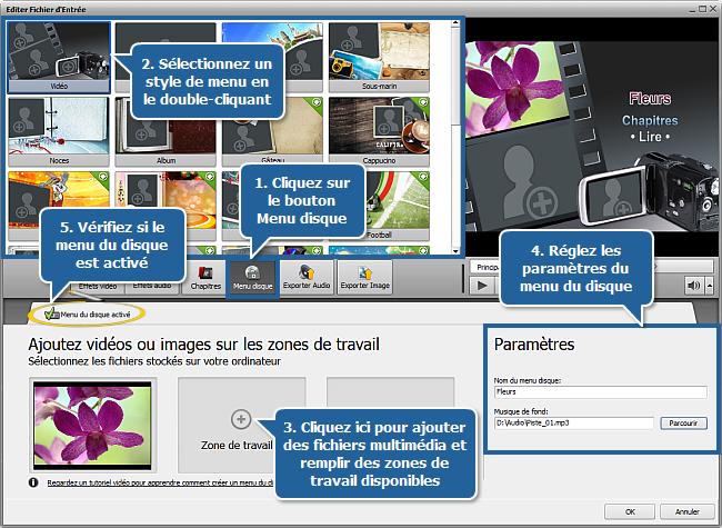 fenêtre Editer Fichier d'Entrée - Menu disque