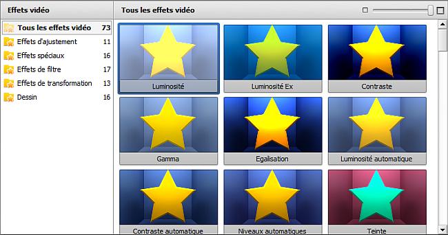 Zone d'éléments applicables - Effets vidéo/audio