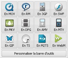 Barre d'outils de formats additionnels