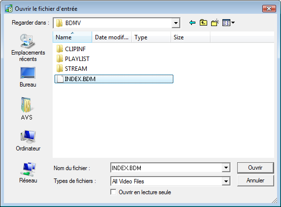 Sélectionner le fichier BDM