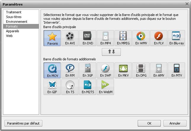 fenêtre Paramètres - Onglet Formats