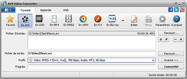 Fenêtre principale d'AVS Video Converter  - En AVI