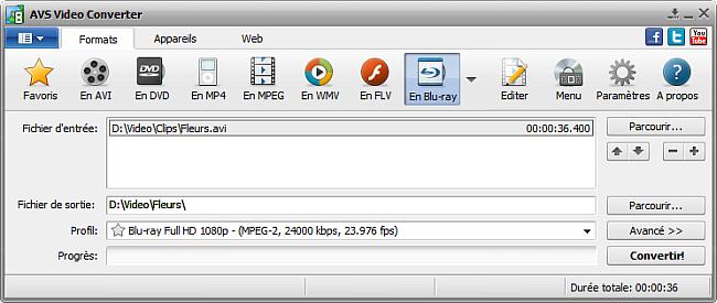 Fenêtre principale d'AVS Video Converter - En Blu-ray