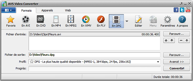 Fenêtre principale d'AVS Video Converter - En DPG