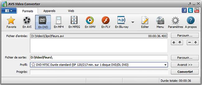 Fenêtre principale d'AVS Video Converter - En DVD