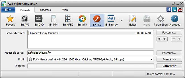 Fenêtre principale d'AVS Video Converter - En FLV