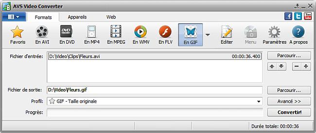 Fenêtre principale d'AVS Video Converter - En GIF