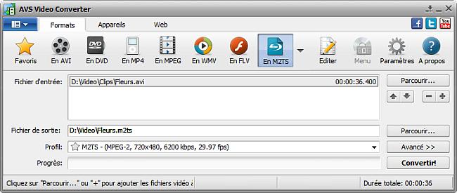 Fenêtre principale d'AVS Video Converter - En M2TS