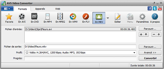 Fenêtre principale d'AVS Video Converter - En MKV