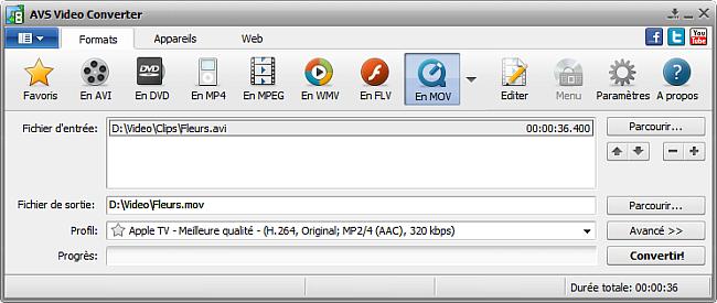 Fenêtre principale d'AVS Video Converter - En MOV