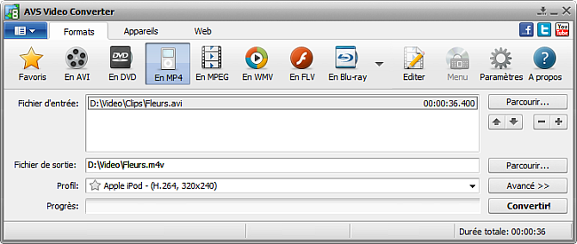 Fenêtre principale d'AVS Video Converter - En MP4