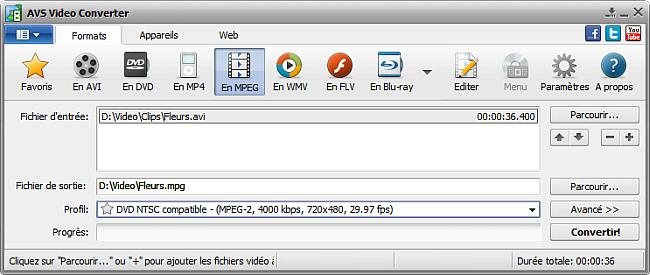 Fenêtre principale d'AVS Video Converter - En MPEG
