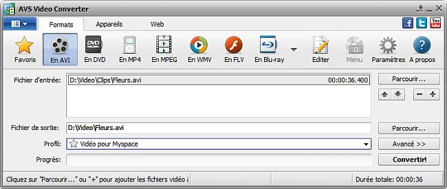Fenêtre principale d'AVS Video Converter - AVI