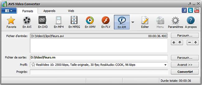 Fenêtre principale d'AVS Video Converter - En RM