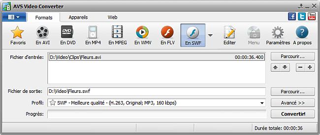Fenêtre principale d'AVS Video Converter - En SWF