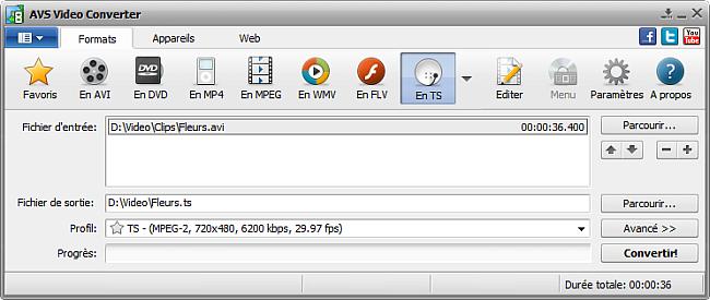 Fenêtre principale d'AVS Video Converter - En TS
