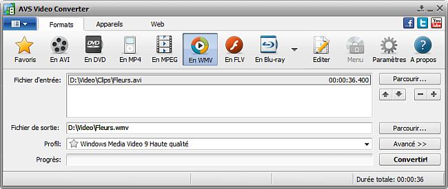 Fenêtre principale d'AVS Video Converter - En WMV