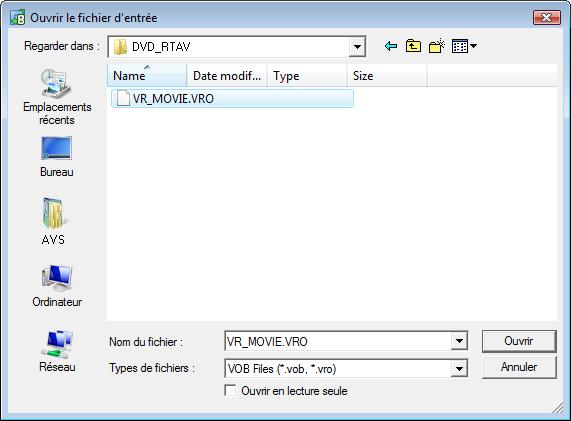 Sélectionner les fichiers vidéo VRO