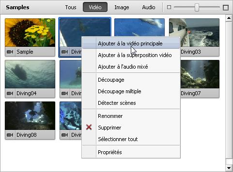 Utilisation de menu contextuel