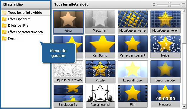 Zone Fichiers et Effets - Effets