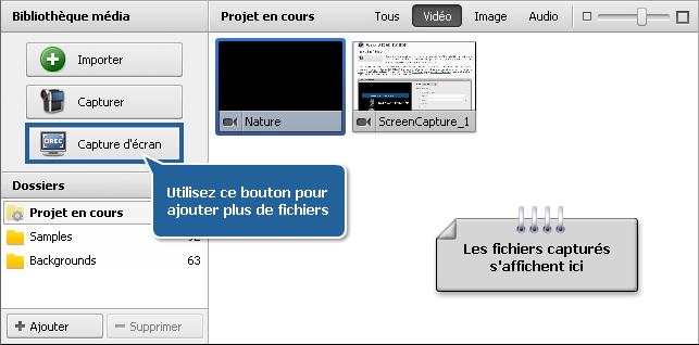 Fichiers et Effets - Catégorie vidéo