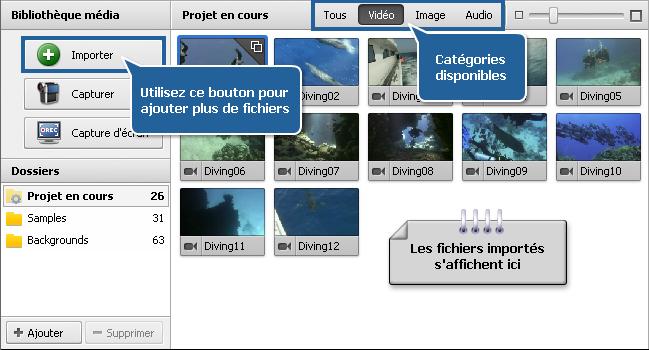 Fichiers et Effets - Bibliothèque média
