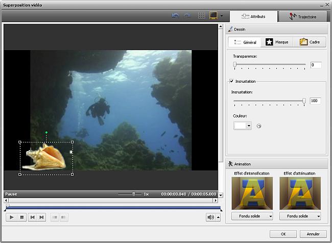 paramètres de la superposition vidéo