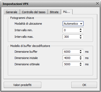 Impostazioni VPX - Scheda Più...