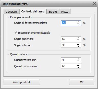 Impostazioni VPX - Scheda Controllo del tasso