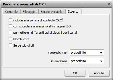 Parametri avanzati di MP3