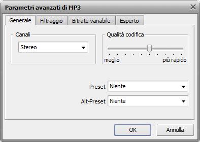 Impostazioni MP3 avanzate
