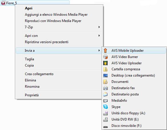 Menù contestuale di Windows Explorer