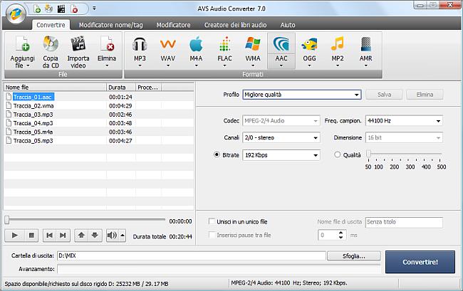 AVS Audio Converter - Conversione nel formato AAC