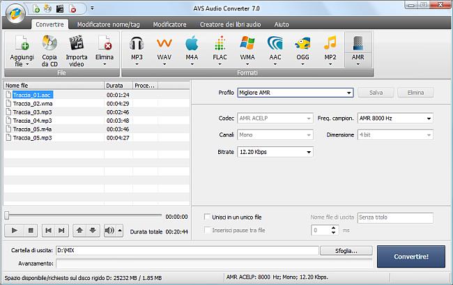 AVS Audio Converter - Conversione nel formato AMR
