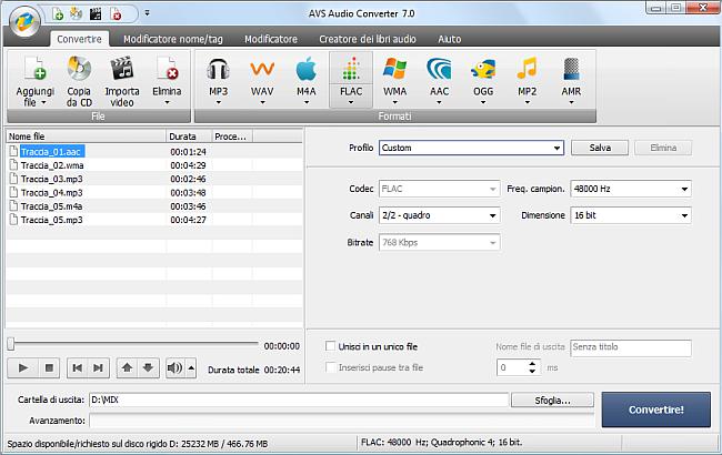 AVS Audio Converter - Conversione nel formato FLAC