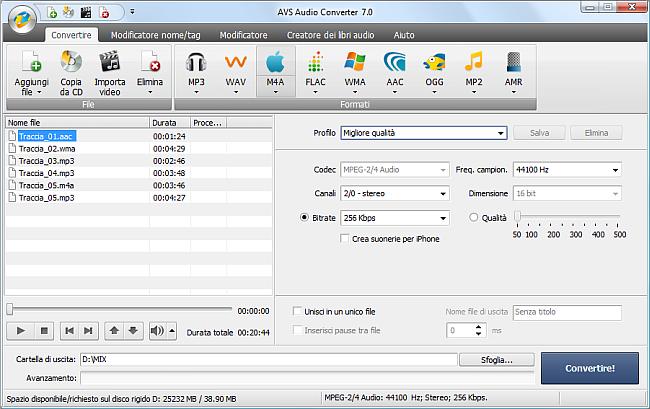 AVS Audio Converter - Conversione nel formato M4A