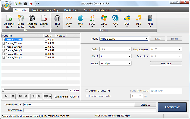 AVS Audio Converter - Conversione nel formato MP3