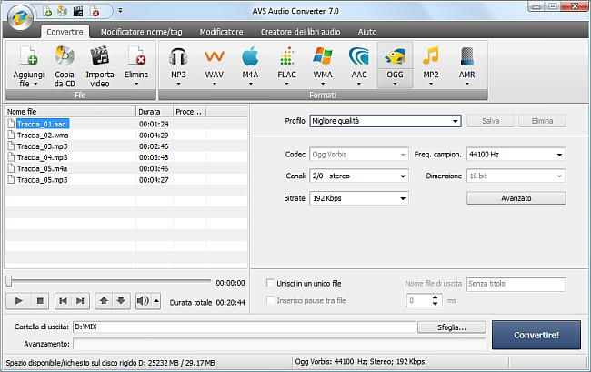 AVS Audio Converter - Conversione nel formato OGG