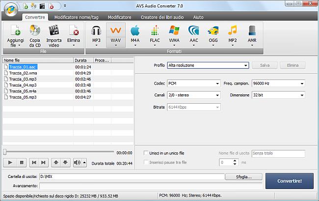AVS Audio Converter - Conversione nel formato WAV