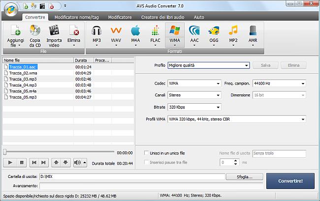 AVS Audio Converter - Conversione nel formato WMA