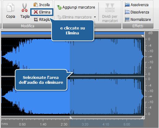 AVS Audio Converter - Eliminare le parti inutili