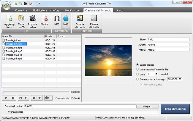 AVS Audio Converter - Creazione dei libri audio in M4B