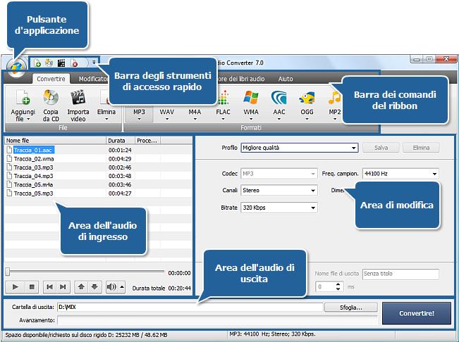 AVS Audio Converter - Finestra principale