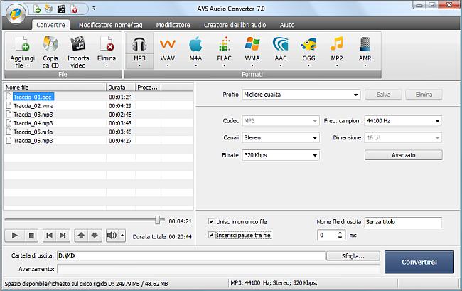 AVS Audio Converter - Unione file audio