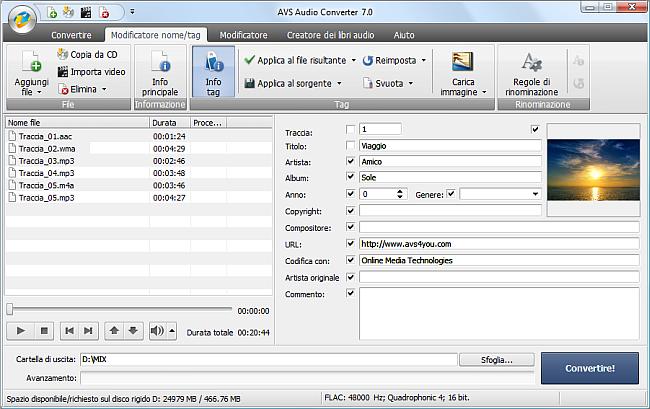 AVS Audio Converter - Modifica tag audio