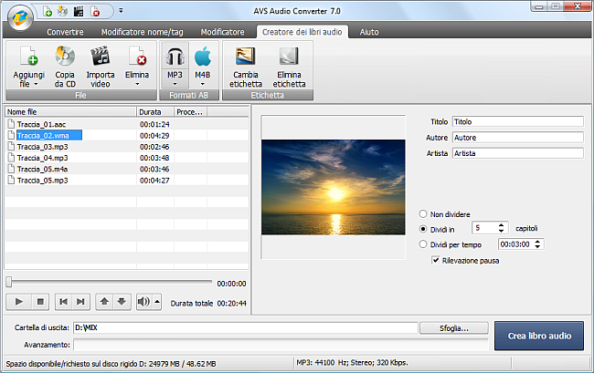AVS Audio Converter - Creazione dei libri audio in MP3