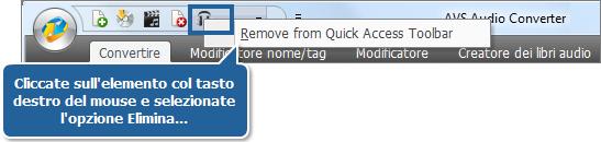 Eliminazione di un elemento dalla barra degli strumenti di accesso rapido